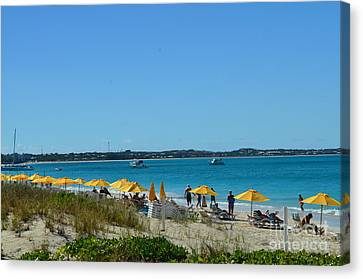 Canvas Print featuring the photograph Typical Beach Day by Judy Wolinsky