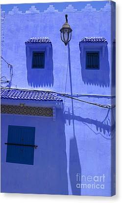 Canvas Print featuring the photograph Typical Blue Facade In The Medina Of Asilah On Northwest Tip Of Atlantic Coast Of Morocco by Ralph A  Ledergerber-Photography