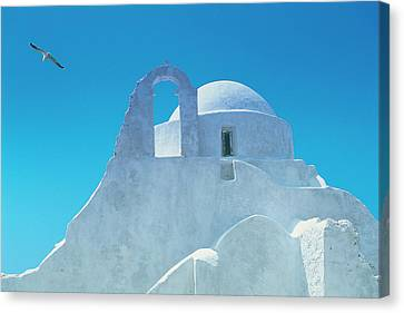 Typical Greek Architecture, Mykonos Canvas Print by Peter Adams