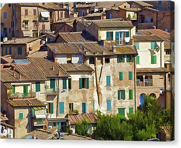 Typical Homes In Cortona On A Warm Sunny Day Canvas Print