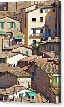 Typical Homes In The Hill Town Cortona  Canvas Print