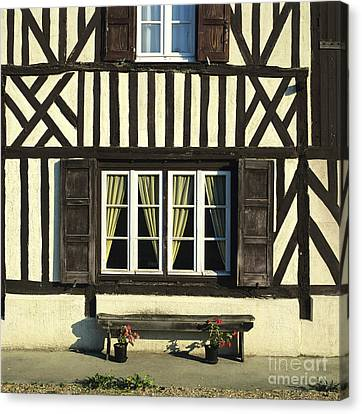Typical House  Half-timbered In Normandy. France. Europe Canvas Print
