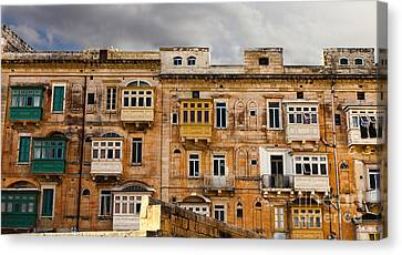 Typical Maltese Building With Balconies Canvas Print