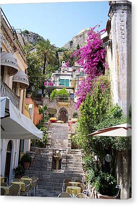 Typical Street Of Taormina Canvas Print by Alberto Pala
