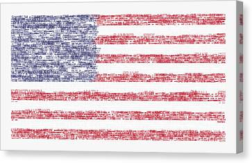 Star Spangled Banner Typography Us Flag Canvas Print by Celestial Images