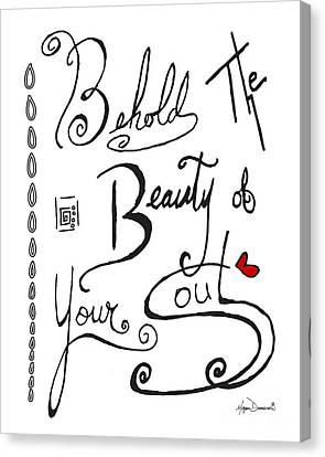 Typography Black And White Word Art Unique And Whimsical Drawing By Megan Duncanson Canvas Print by Megan Duncanson