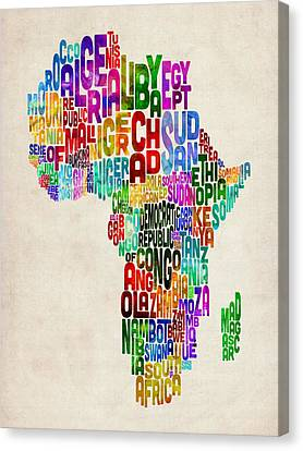 Typography Map Of Africa Canvas Print by Michael Tompsett