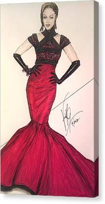 Tyra Banks/ In Victoria's Fashion Canvas Print by Vicki  Jones