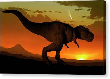 Tyrannosaurus And Comet Canvas Print by Mark Garlick