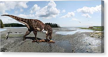 Tyrannosaurus Enjoying Seafood - Wide Format Canvas Print by Julius Csotonyi