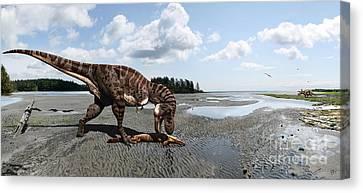 Extinct Canvas Print - Tyrannosaurus Enjoying Seafood - Wide Format by Julius Csotonyi