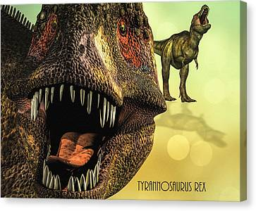 Canvas Print featuring the digital art Tyrannosaurus Rex 4 by Bob Orsillo