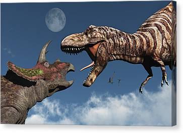 Four Animal Faces Canvas Print - Tyrannosaurus Rex Confronting by Mark Stevenson