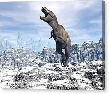 Tyrannosaurus Rex Dinosaur In A Snowy Canvas Print
