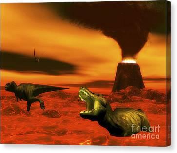 Tyrannosaurus Rex Dinosaurs Struggle Canvas Print by Elena Duvernay