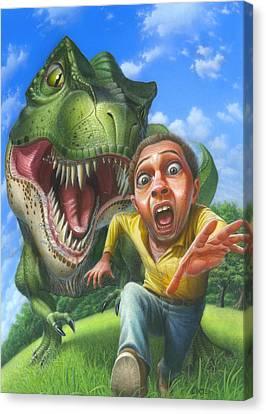 Tyrannosaurus Rex Jurassic Park Dinosaur - T Rex - Paleoart- Fantasy - Extinct Predator Canvas Print by Walt Curlee
