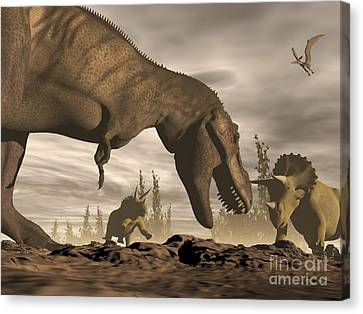 Four Animal Faces Canvas Print - Tyrannosaurus Rex Roaring At Two by Elena Duvernay