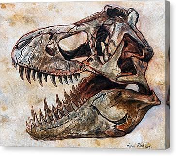 Tyrannosaurus Skull 2 Canvas Print by Harm  Plat