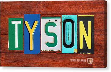 Tyson License Plate Name Sign Fun Kid Room Decor Canvas Print by Design Turnpike