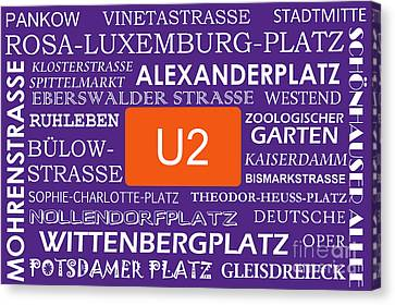 U Bahn Metro U2 Berlin Canvas Print by Art Photography