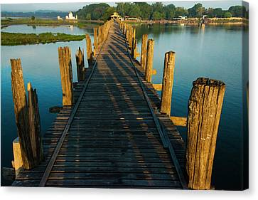 U Bein Teak Bridge On Taungthaman Lake Canvas Print by Keren Su