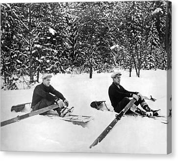 U Of W Crew Stage Toboggan Race Canvas Print by Underwood Archives