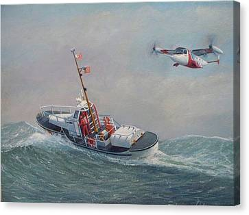 U. S. Coast Guard 44ft Motor Lifeboat And Tilt-motor Aircraft  Canvas Print by William H RaVell III