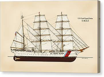 Us Navy Canvas Print - U. S. Coast Guard Cutter Eagle - Color by Jerry McElroy - Public Domain Image