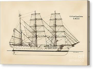 U. S. Coast Guard Cutter Eagle - Sepia Canvas Print by Jerry McElroy - Public Domain Image