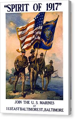 U. S. Marines Spirit Of 1917 Canvas Print by Daniel Hagerman