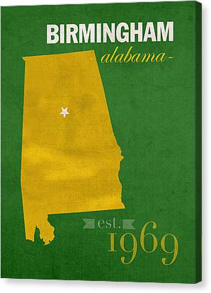 Uab University Of Alabama At Birmingham Blazers College Town State Map Poster Series No 009  Canvas Print by Design Turnpike