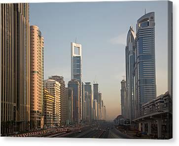 Uae, Dubai Towers Along Sheik Zayed Canvas Print
