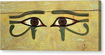 Udjat Eyes On A Coffin, Middle Kingdom Wood & Paint Canvas Print by Egyptian 12th Dynasty