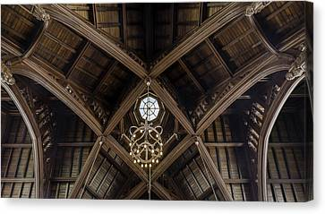 Uf University Auditorium Vaulted Wooden Arches Canvas Print by Lynn Palmer