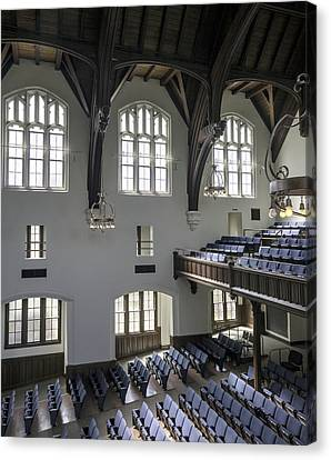 Uf University Auditorium Window And Balcony Detail Canvas Print by Lynn Palmer