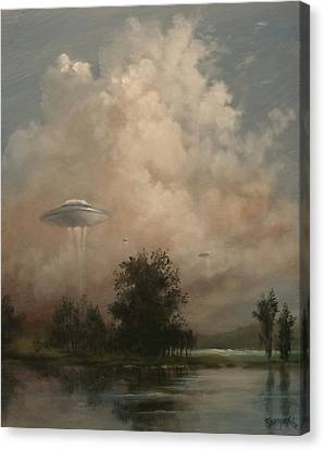Abduction Canvas Print - Ufo's - A Scouting Party by Tom Shropshire