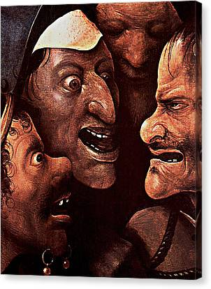Canvas Print featuring the digital art Ugly Faces by Hieronymus Bosch
