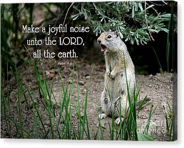 Uinta Ground Squirrel - Psalm 98 Canvas Print by E B Schmidt
