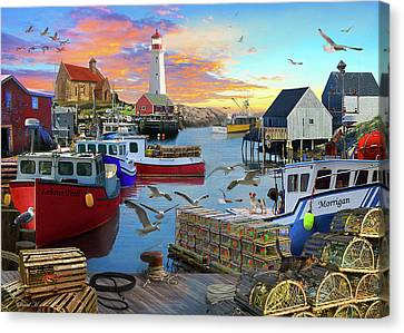 Canvas Print featuring the drawing Uk Boat Cove by David M ( Maclean )