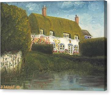 Canvas Print featuring the painting Uk Cottage by Diane Daigle
