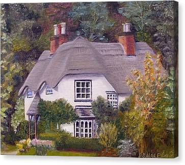 Canvas Print featuring the painting Uk Thatched Cottage by Diane Daigle