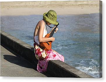 Ukulele Lady At Hanalei Bay Canvas Print by Catherine Sherman