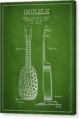 Ukulele Patent Drawing From 1928 - Green Canvas Print by Aged Pixel