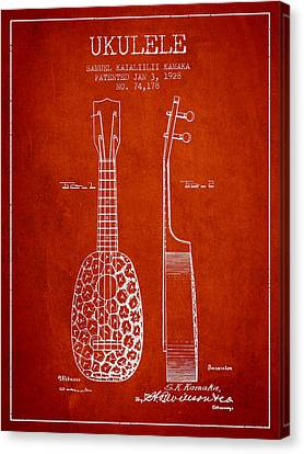 Ukulele Patent Drawing From 1928 - Red Canvas Print by Aged Pixel