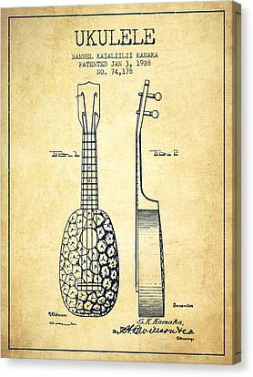 Ukulele Patent Drawing From 1928 - Vintage Canvas Print by Aged Pixel