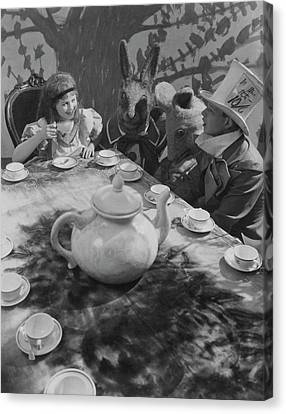 Mad Hatter Canvas Print - Ula Sharon And Carl Randall Re-enacting Scene by Edward Steichen