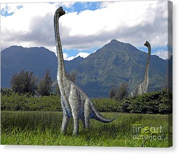 Extinct And Mythical Canvas Print - Ultrasaurus In Meadow by Frank Wilson