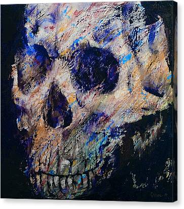 Frightening Canvas Print - Ultraviolet Skull by Michael Creese