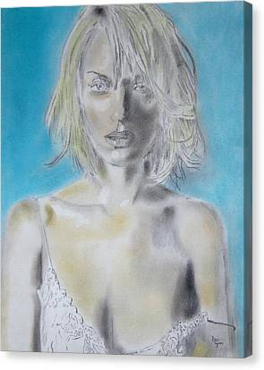 Uma Thurman Portrait Canvas Print by Dan Twyman