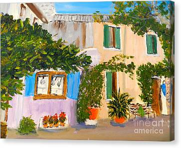 Canvas Print featuring the painting Umbera Courtyard by Pamela  Meredith